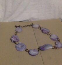 "Amethyst Flat Geode Beaded Necklace. 32"". Oxidized Brass Chain Links."