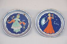Vintage Tin Litho Toy Plates in Color - Ladies fashion 1812 - To-day (1930's?)