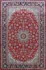 Vintage Floral Najafabad Area Rug Red Traditional Living Room Hand-Knotted 8x12