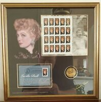 1961 Lucille Ball USPS First Day Cover Plate Block Stamps Framed Collection