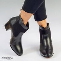 Womens Ladies Black Leather Chelsea Ankle Boot, UK Size 3 4 5 6 7 8