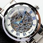 Luxury Classic Men Sport Watch Skeleton Silver Stainless Steel Mechanical Watch