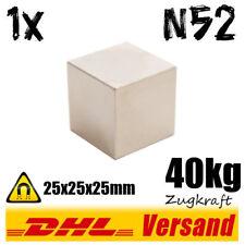 Neodym starker großer Magnet Würfel Werkstattmagnet 25x25x25mm N52 40kg