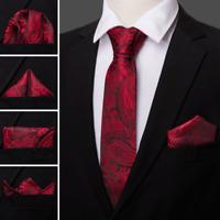 Mens Tie Set Red Black Paisley Silk Wedding Necktie Pocket Square Cufflinks USA