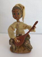 Vintage Pixie Minstrel Celluloid Figurine Felt Lute Musician Hong Kong 1950s