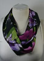 Infinity scarf,black theme,chiffon,striped or floral,handmade,great for vacation