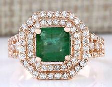 2.66 Carat Natural Emerald 14K Rose Gold Diamond Ring