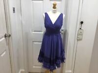 Coast Size 8  Indigo Blue Cocktail, Wedding Prom 100% Silk Dress