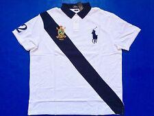 New Ralph Lauren Polo 100% Cotton Slim Fit Crested White Navy Big Pony Shirt XXL