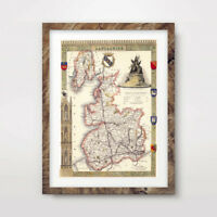 LANCASHIRE VINTAGE MAP ART PRINT Poster Manchester County Hotel Wall A4 A3 A2