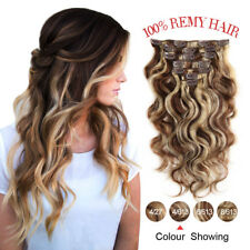 "18"" 7pcs/Set Clip in Body Wave 100% Remy Human Hair Extensions Weft 70g #4-613"
