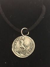 """Denarius Of Tiberius Coin WC60 Fine English Pewter On a 18"""" Black Cord Necklace"""