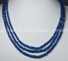 NATURAL 3 Rows 2X4mm FACETED Sapphire BEADS NECKLACE 17-19'' JN1380