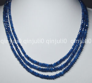 NATURAL 3 Rows 2X4mm FACETED Blue Sapphire Gems Roundel BEADS NECKLACE 17-19''