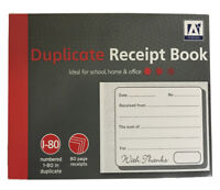 Duplicate Receipt Book, Pages 1-80 With 2 Sheets Carbon Paper Reciept NEW..
