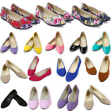 New Women Ballerina Ballet Dolly Pump Flats Loafers Slip On Boat Shoes Casual AU