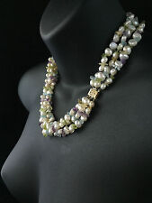 VINTAGE 14CT GOLD MULTISTRAND KESHI CULTURED PEARL AND GEMSTONES NECKLACE - 593