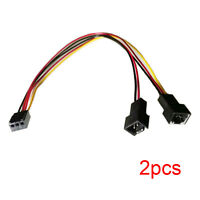 2pcs 3-pin Female to Dual 3-pin Male PC Fan Power Splitter Y Cable Adapter