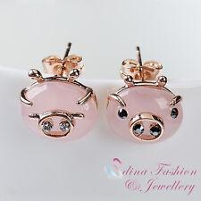 18K Rose Gold Plated Simulated Opal Cute Pig Head Stud Earrings