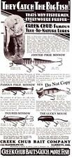 1930 Vintage ad Creek Chub Baits Jointed Pike Minnow Lucky Mouse More!