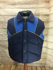 vintage 80s Sigallo Nylon Ski Skiing Snap Up Light Blue Yellow Winter Vest Xl