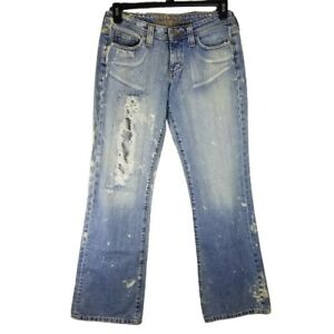 HIPPIE Blue Denim Jeans Straight Leg Size 9 Distressed 100% Cotton 32x33