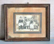 Antique Original Old Indian Woman & Kids Black & White Framed Camera Photograph