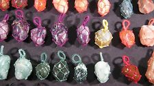 Pendant Tumbled Stone Crystal Cloth Wrapped LOT 10 Pcs Handmade Healing Reiki