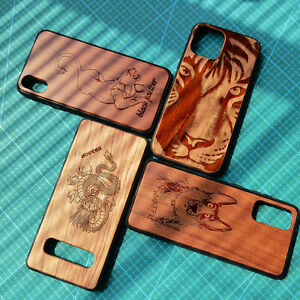 Laser Carved Rose Wooden TPU Animal Phone Case For iPhone 12 11 Pro Max Xr/X 7 8
