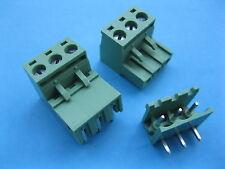 10 pcs 5.08mm Angle 3way/pin Screw Terminal Block Connector Pluggable Green