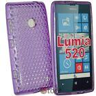 Cover Custodia Per Nokia Lumia 520 Viola Gel Silicone TPU + Pellicola Display