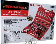 "94PC 1/4"" 1/2"" socket set LARGE crv deep shallow torx hex bits PRO NEILSEN Tool"