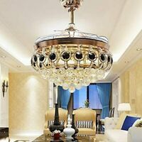 "42""Remote Retractable Blade LED 3-Color Chandelier Crystal Invisible Ceiling Fan"
