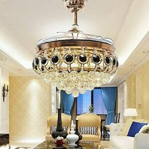"""42""""Crystal Ceiling Fan Chandelier Invisible Blade Chandelier with Remote Control"""