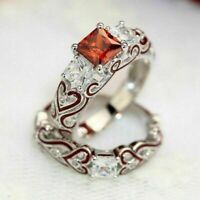 His & Hers Lover Stainless Steel Red CZ Couple Band Ring Set Engagement Wedding