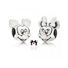 S925 Sterling Silver Stamped Disney Mickey Minnie Mouse Portrait Charm Set