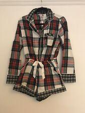 Victorias Secret Plaid Check Cotton Pyjama Playsuit Romper Size XS