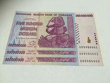 3 x Zimbabwe 500 MILLION Dollar Notes AB/2008 Consecutive Numbers UNC *BARGAIN*