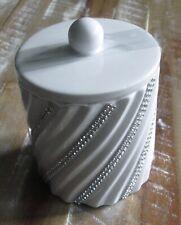 NWT BELLA LUX WHITE CERAMIC COTTON BALL/Q TIP JAR W/LID RHINESTONE 3D SWIRL GLAM