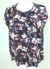 Simply Vera Wang Women's Blouse Sz L Short Sleeve Black Floral