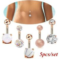 5Pcs/Set Surgical Steel Crystal Belly Navel Button Ring Body Piercing Jewelry