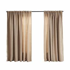 2X Blockout Curtains Fabric Blackout Curtain Linen Texture Draperies Pair Buff