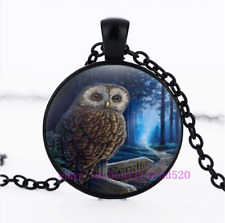 Necklace Owl Photo Tibet Silver Cabochon Glass Chain Pendant Necklace