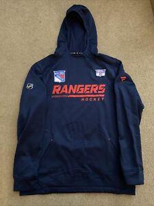 Anthony Bitetto Player Worn 2021 Blue New York Rangers Hoodie Sweatshirt - COA