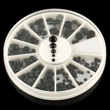 Wheel 3D (1.5 /2 /3 /4mm) Acrylic Nail Art Decoration Black Rhinestones Fashion