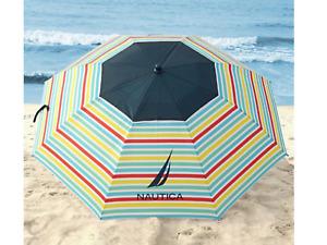 Nautica Beach Umbrella Multi-color Rainbow UPF-50 Height : 7 FT