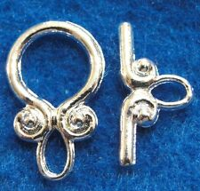 10Sets Silver-Plated SWIRL Toggle Clasps Connectors Tibetan Hooks Findings C302