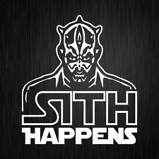 Sith Happens Star Wars Satire Darth Maul Weiß Auto Vinyl Decal Sticker Aufkleber