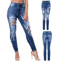 Women's Stretch Jeans Fashion Ladies Mid Waist Stretch Slim Sexy Pencil Pants US