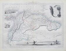C1854 Venezuela Nueva Granada Ecuador Guyana genuino mapa antiguo por Rapkin